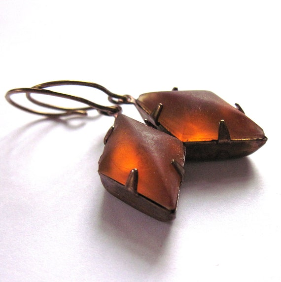 Frosted Orange Glass Claw Set Earrings Fashion Jewelry