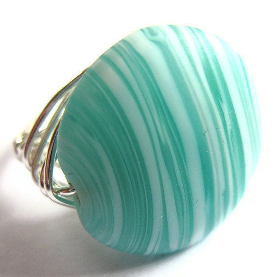 Wire Wrap Ring Turquoise Striped Fashion Jewelry