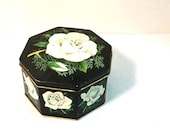 Vintage Tin - White Rose on Black