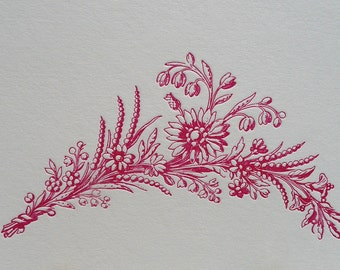 Letterpress flower, floral spray