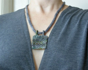 Knitted Necklace - Multicolor Pendant on a Charcoal Cord