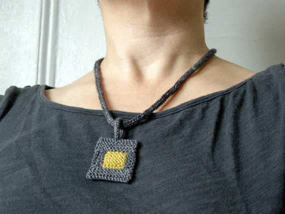 Knitted Necklace: Modern Pendant in Grey and Mustard