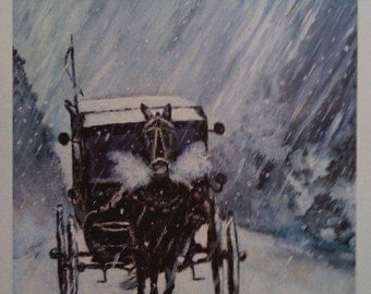 """Holiday Art Gift & Decor Ideas /Horse and Carriage in Snow by Delaware Artist N Taylor Collins Limited Edition Print """"a time to hurry"""""""