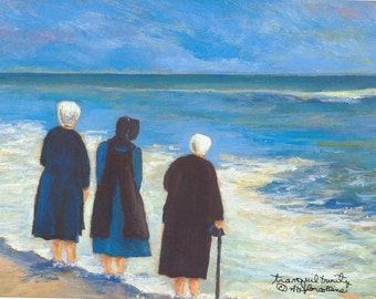 """Rehoboth Beach Limited Edition Print - """"Tranquil Trinity"""" featuring Delaware Amish at beach 11"""" x 14"""" print size by Artist n taylor collins"""