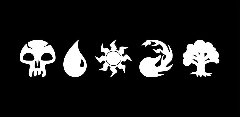 Magic The Gathering Mtg Mana Symbols Sticker Set White