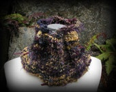 REDUCED! Wearable Art, Handknit Cowl, Faeries, Woodland. Navy, Burgundy, Gold, Moss, Stone, Ready to Ship, Gift Boxed, FishBaySunsets