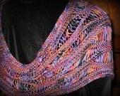 Moebius Wrap, Infinity Wrap, Neckwrap, Handknit, Rayon, Cobalt, Lavender, Rose, Copper, Layaway Plan, Free US Shipping