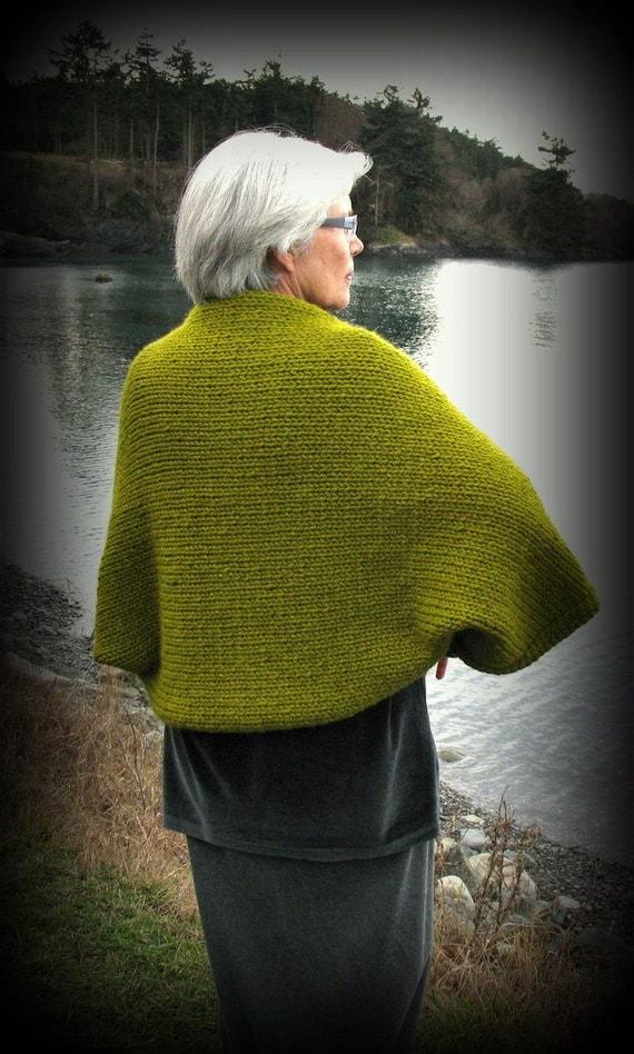 REDUCED!  Shrug, Sweater, Jacket, Handknit, 3/4 Kimono Sleeve, Lemongrass, Green, FishBaySunsets