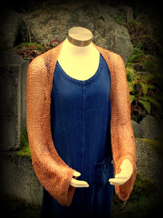 REDUCED! Wearable Art, Shrug, Sweater, Jacket, Coverup, Handknit, Copper, Rayon, Ready to Ship, FishBaySunsets