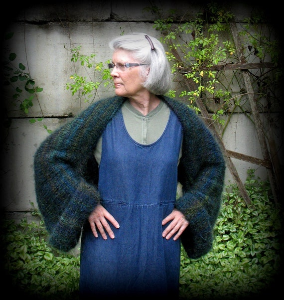 Shrug, Jacket, Sweater, Handknit, Tall, Regular, Plus Size, Pesto, Forest Green, Deep Blue, Teal, Quiet Forest, Layaway Plan