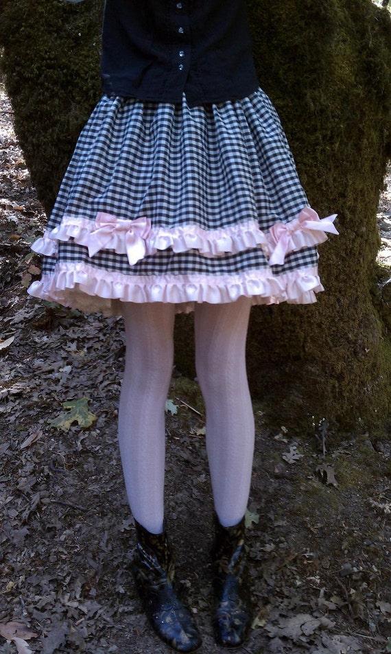 Lolita Black and White Gingham and Pink Satin Skirt