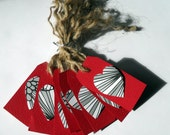 Red Tags with Black and White Hearts and Natural Twine Ties