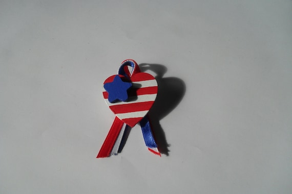 Patriotic Red, White, and Blue Heart Pin