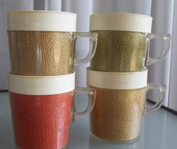 Vintage Plastic Insulated Coffee Mugs With Burlap