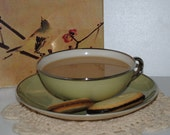 Awesome Avocado Mid Century Franciscan Vintage China Coffee Cup and Saucer