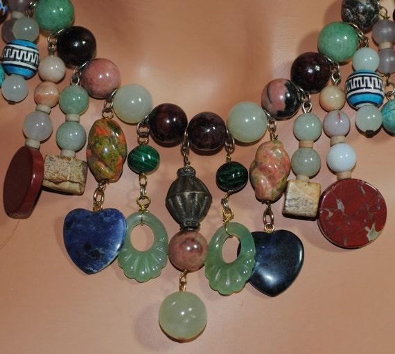 SALE SALE SALE Vintage Genuine Semi-Precious Multi-Stone Necklace