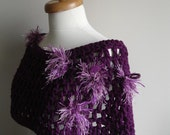 Wool Capelet  By Crochetlab,Special Design. OOAK, Ready to Ship, purple, plum, Gift for her