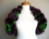 Shrug,  Green and Purple, Fall and Winter Collection,  Unique Design Shrug,  Cardigan, Jacket, OOAK