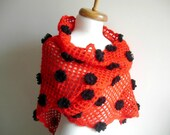 Red Shawl, With black Flowers,  New Season Triangle Shawl By Crochetlab
