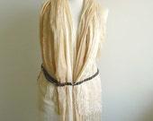 Beige Scarf Vest with Handcrocheted Back, Vest , Crocheted back, Elegant