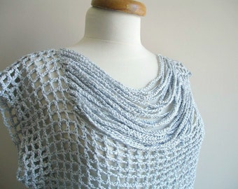 Handcrocheted Silver Grey Blouse Top, Summer Top,  OOAK Fashion
