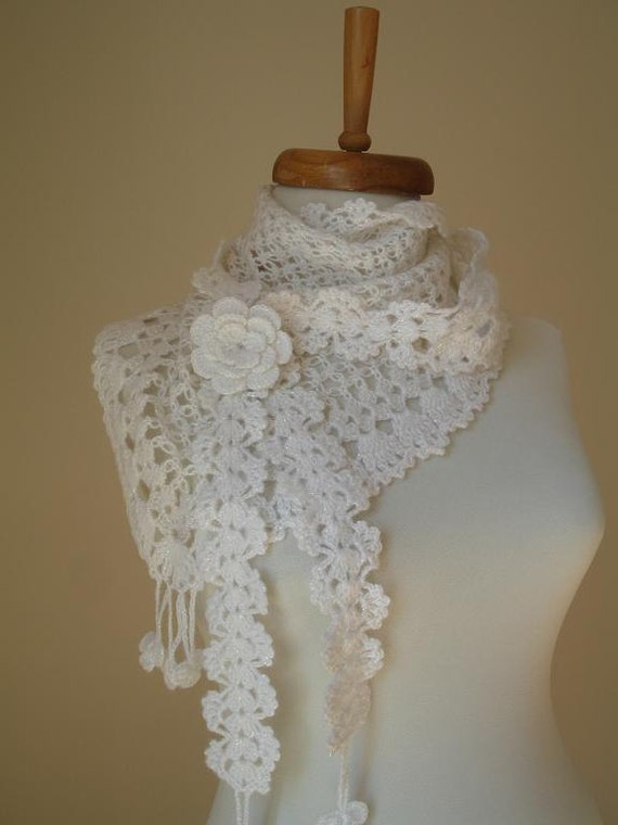 White mini Shawl By Crochetlab, With lovely flower brooch gift