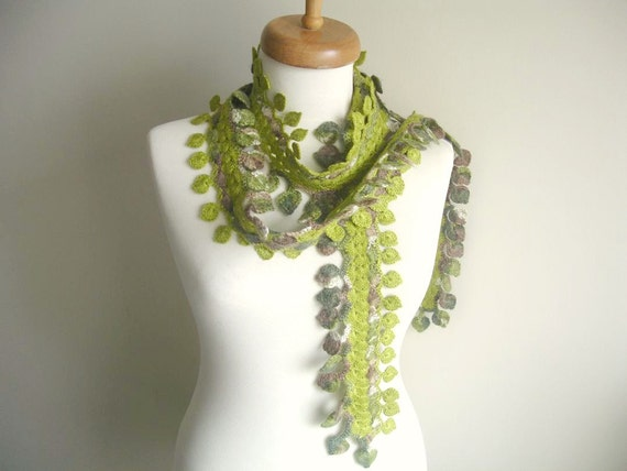 Green Scarf ,  Long scarf with leaves,  New Season, Long Green Scarf By Crochetlab,