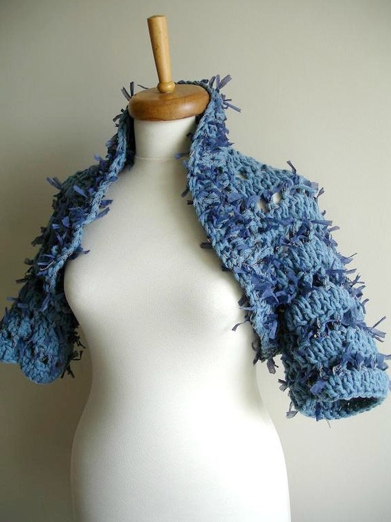 Shrug,  Blue,  Jeans Effect, Paper yarn, Fall and Winter Collection, Chunky Knits,  Unique Design Shrug,  Cardigan, Jacket, OOAK