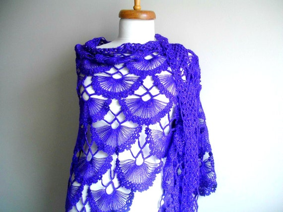 Purple, Amethyst  Shawl,  Fall Fashion, New Season Purple, Violet  Triangle Shawl, Mohair, Ready To Ship, Gift for Her