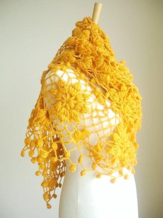 Mustard Shawl  New Season,  Fashion, under 75,  Triangle Shawl By Crochetlab, Winter and Spring 2012 , Mohair,