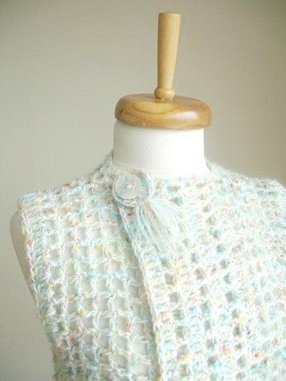 Asymmetric Mini Vest By Crochetlab, Ready to Ship, OOAK Design, Cream
