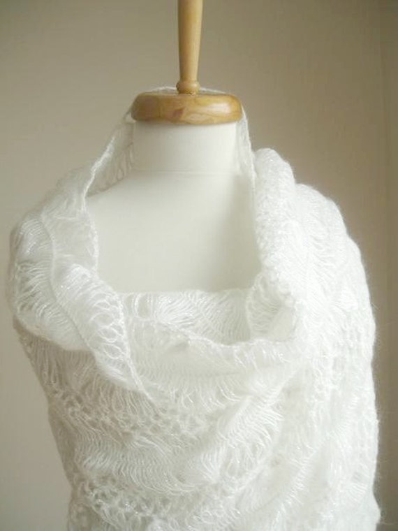 White Bridal Shawl By Crochetlab, Spring Wedding, Spring bride, Mohair  Shawl, Wrap