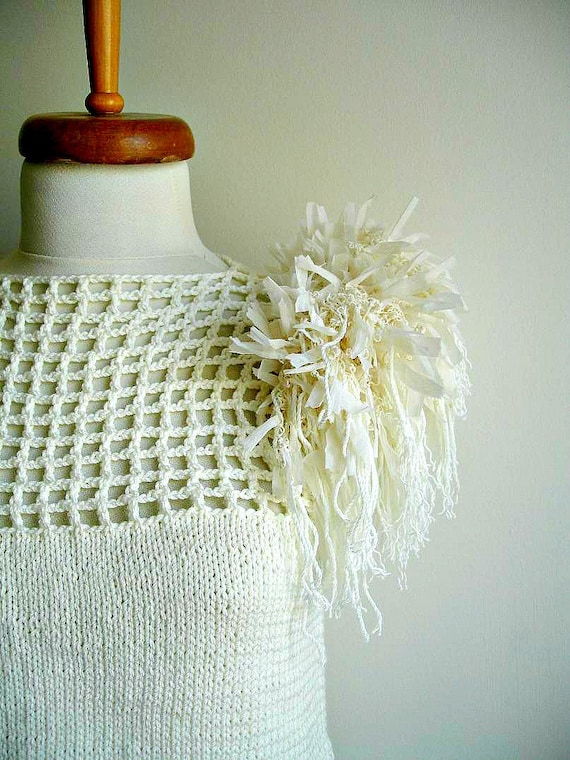 Ivory  Blouse Top ,Handcrocheted and Handknitted, Unique Design