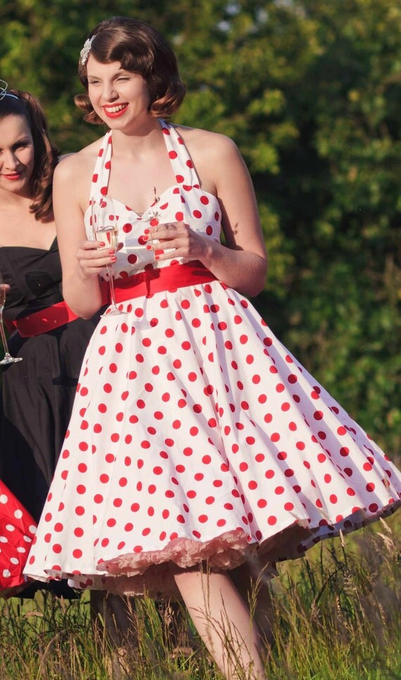 Red and white 1950's style dress