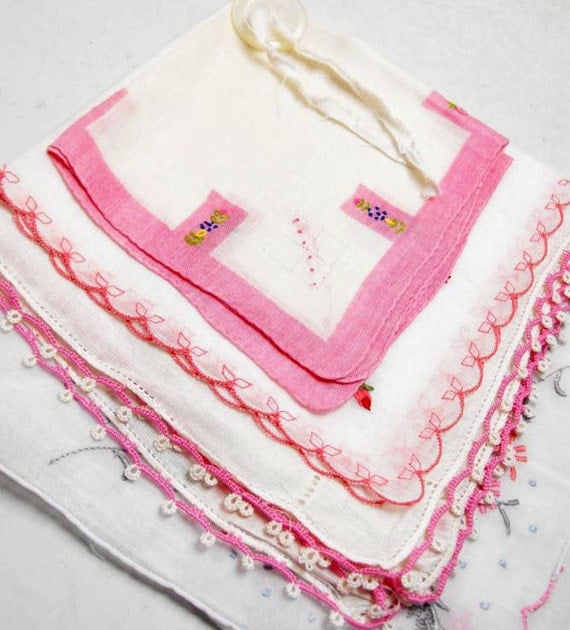 Vintage Pink and White Handkerchiefs Hankies Four