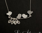 Custom Mommy Necklace - 4 Baby Birds - STERLING SILVER - Bird Branch, Personalized Jewelry, Four Birds, Family Charms, Gifts for Mom, Mum