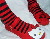 Hello Kitty - RED SHOES, cloth Mary Jane- Size 8