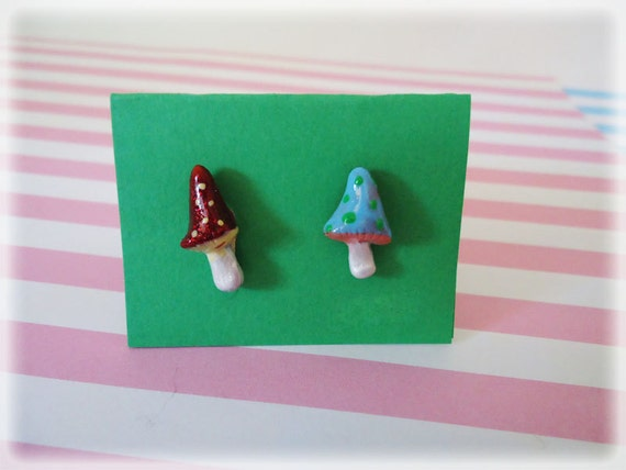 Woodland Tall Mushroom Post Earrings - mishmash because that is what happens in nature Random Made to Order
