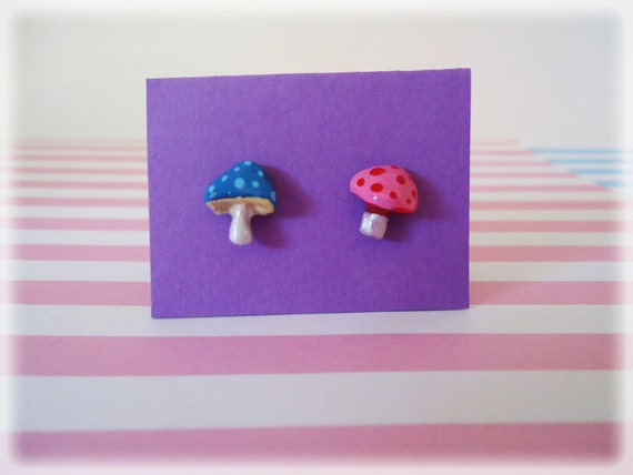Woodland Short Mushroom Post Earrings - mishmash because that is what happens in nature