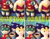 Custom Order Legion of Super Heroes set of 10 dolls from felices happy designs