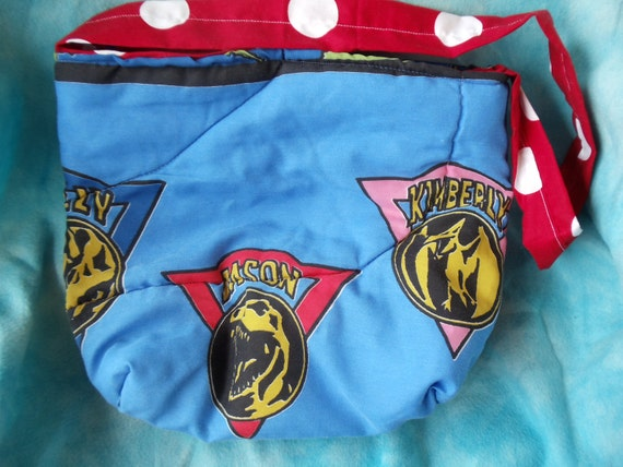 upcycled mighty morphin power rangers vintage style tote bag blue with symbols