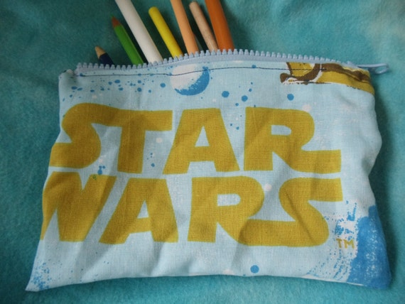 star wars upcycled make up or pencil bag vintage style featuring Han Solo and princess Leia