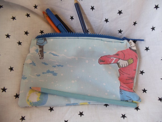 star trek upcycled make up or pencil bag vintage style clearance SALE