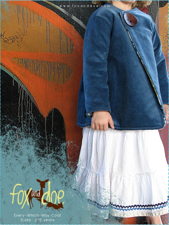 Every-Which-Way COAT Pattern and Tutorial...sizes 2T-5T, Reversible Coat Pattern
