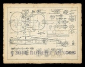 "Color Print of a 19th Century Violin Maker's Plans - 11"" x 14"""
