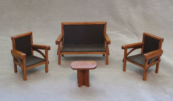 Vintage Art Deco Era Hand-Made Doll House Furniture