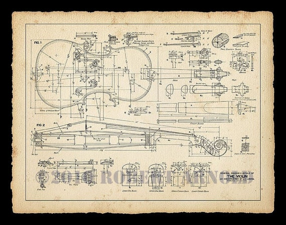 "Color Print of a 19th Century Violin Maker's Plans - 11"" x 14"""