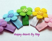 Pastel Flower Hair Clips-Set of 5-Baby Snap Clips-Great for Baby Shower or New Baby