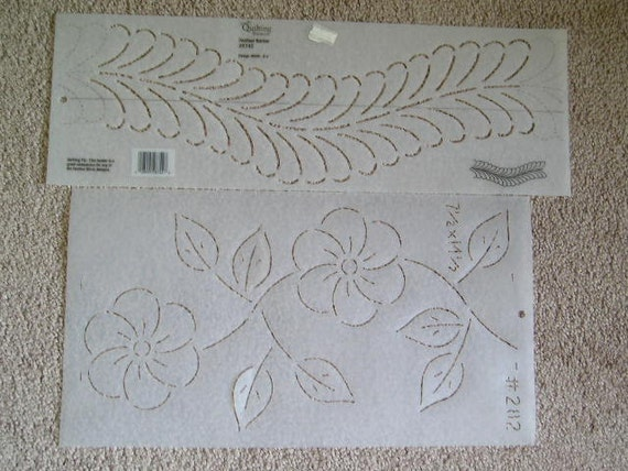 2 Quilting Stencils Flower and Feather Border CLEARANCE