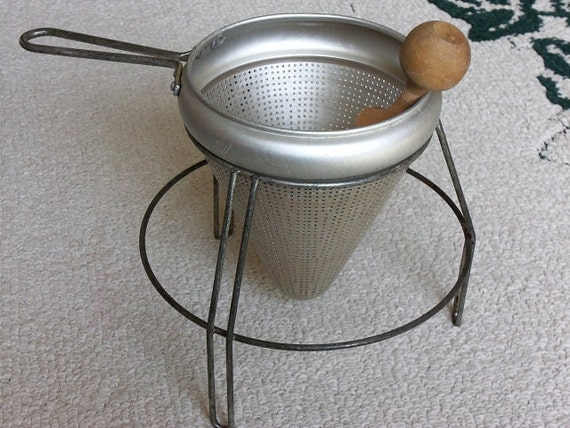 canning strainer complete with cone colander stand and pestle. Black Bedroom Furniture Sets. Home Design Ideas